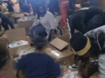 People sorting supplies for Haiti in Washington DC