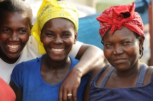 "Fonkoze borrowers like the women above join ""solidarity groups"" that enable them to support each other."