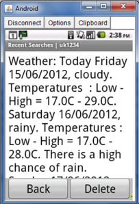 A weather report, as depicted on a CKW's smartphone.
