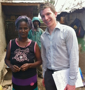 David Washer (right) spent a week meeting clients and lending his skills in finance to Eshet, an Ethiopian microfinance institution, as part of Bankers without Borders' FiDavid Washer (right) spent a week meeting clients and lending his skills in finance to Eshet, an Ethiopian microfinance institution, as part of BwB's Financial Modeling Reserve Corps.nancial Modeling Reserve Corps.